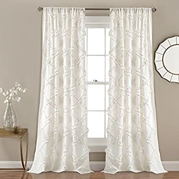 Amazon Com Lush Decor Ruffle Diamond Curtains Textured