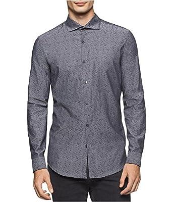 Calvin Klein Men's Long-Sleeve Woven Button Down Solid Shirt