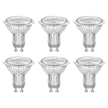 UL Listed GU10 COB LED Bulb, 0-100% Dimmable, 50W Halogen Bulb Equivalent, 7W 650lm 38° Beam Angle, 5000K Daylight, 3 Years Warranty, Pack of 6 Units