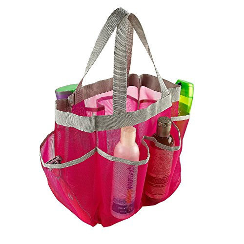 7 pocket shower caddy tote pink keep your shower essentials within easy reach shower caddies. Black Bedroom Furniture Sets. Home Design Ideas