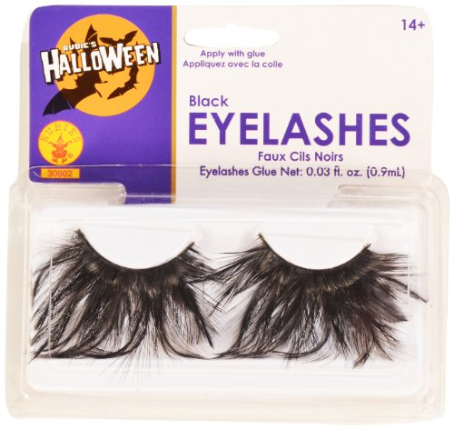 [Rubies Black Eyelashes and Adhesive] (Family Themed Fancy Dress Costumes)