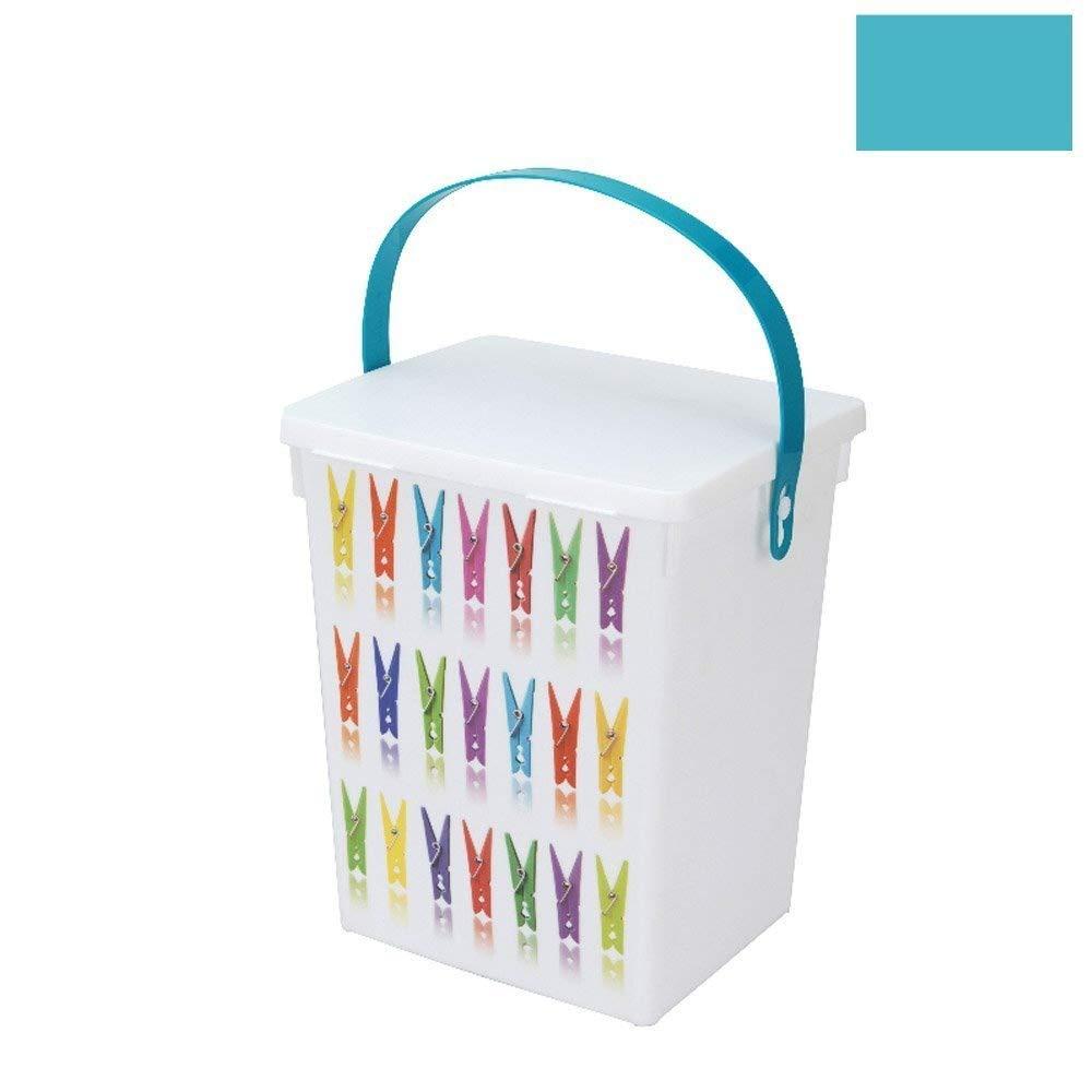 Hanging Peg Storage Box Basket Bag Holder Bundle With Washing Line & 20 Clothes Pegs (Blue) Koopman International