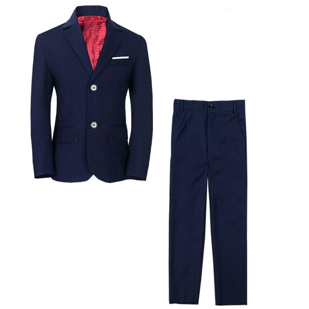 Yanlu Boy's Tuxedos Suits Set Blue Black Slim Fit Suit for Weddings XXMBLUE6