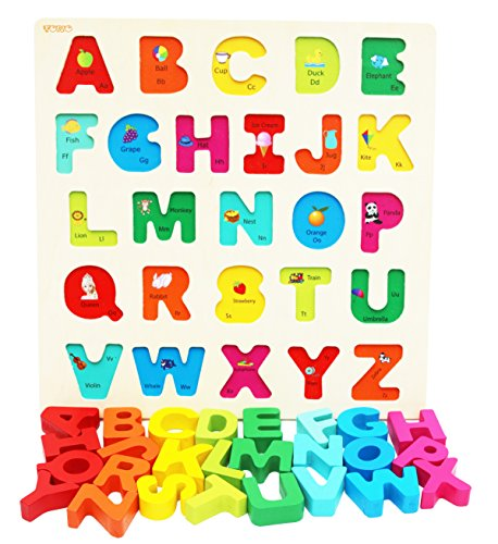 (Wooden Alphabet Puzzle for Toddlers Chunky Size- Alphabet Puzzle Board Early Learning Toys Suitable for Montessori Learning)