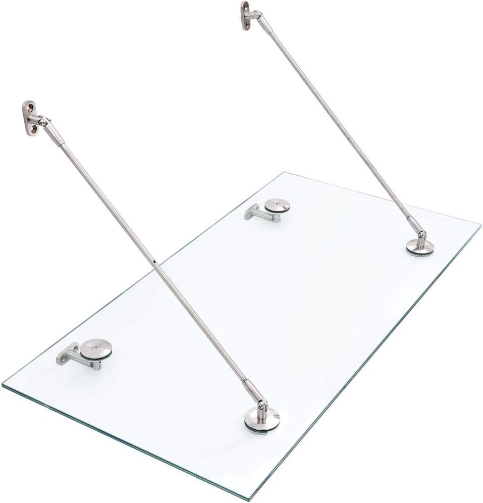 Festnight Marquesina para Puerta Vidrio de Seguridad Toldo de Cristal Tejadillo de Protección Marquesina VSG 120x60 cm