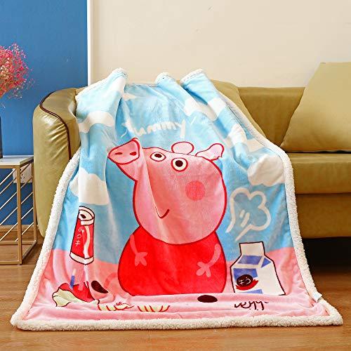 FairyShe Kids Throw Blanket Cartoon Fleece Blanket,Soft Warm Plush Sherpa Blanket for Baby,Coral Velvet Fuzzy Blanket for Bed Couch Chair Baby Crib Living Room (Pig In A Blanket Game)
