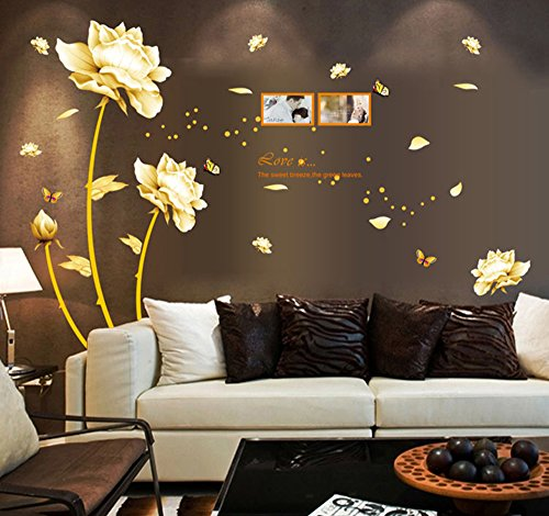 ufengke® Beautiful Peony Flowers Butterflies Photo Frame Wall Decals, Living Room Bedroom Removable Wall Stickers Murals - Removable Room