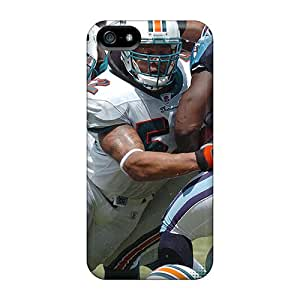 Rugged Skin Cases Covers For Iphone 5/5s- Eco-friendly Packaging(miami Dolphins)