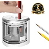 Electric Pencil Sharpener,Heavy duty Steel Blade Auto Stop Colored Pencil Sharpeners for Kids Artists Adults (Gray)