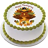 """Happy Thanksgiving Turkey Edible Cake Topper or Cupcake Topper Decorations (8"""" Round)"""