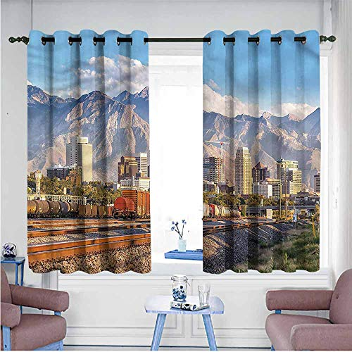 Mdxizc Soft Curtain Landscape Salt Lake City Utah USA Bedroom Blackout Curtains W72 xL45 Suitable for Bedroom,Living,Room,Study, etc. -