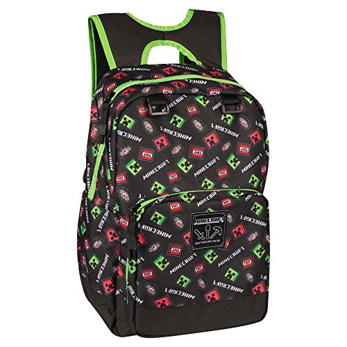 JINX Minecraft Scatter Creeper Kids Backpack (Black, 17) for School, Camping, Travel, Outdoors & Fun
