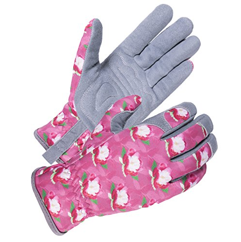 SKYDEER Women Working Gloves with Deerskin Leather Suede for Gardening Yard Rose Pruning and Daily Work