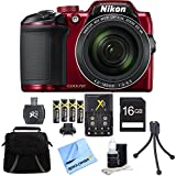 Nikon COOLPIX B500 16MP Digital Camera 16GB Accessory Bundle Red includes Camera, Bag, 16GB SDHC Memory Card, Card Reader, AA Batteries + Charger, Mini Tripod, Cleaning Kit and Beach Camera Cloth For Sale