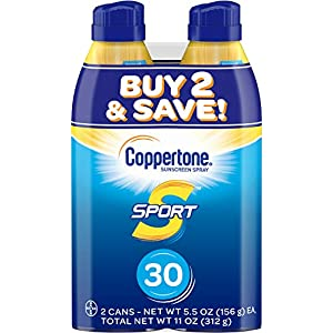 Coppertone SPORT Continuous Sunscreen Spray Broad Spectrum SPF 30 (5.5 Ounce per Bottle, Pack of 2) (Packaging may vary)