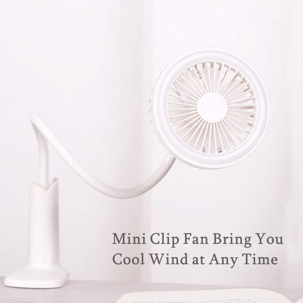 Flysea USB Mini Desk Clip Fan, Small LED Lamp Fan with 1500mAh Battery Rechargeable for Desktop Stroller Office Outdoor Household Backpacking Picnic, Flexible Bendable Portable Fan White