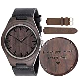 Engraved Wood Watch - Anniversary Gifts for Men Boyfriend Husband - Personalized Wooden Wristwatch Idea for Him - Christmas Gifts, Fathers Day Gifts, Graduation and Birthday Gift