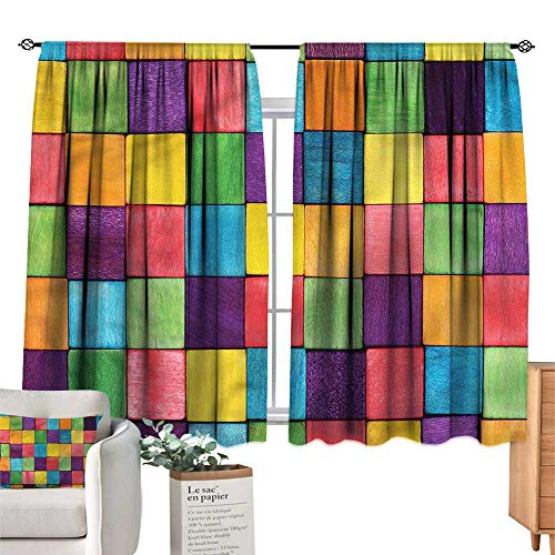 WinfreyDecor Abstract Exclusive Home CurtainsColorful Block Cube Shapes Set of Two Panels 63