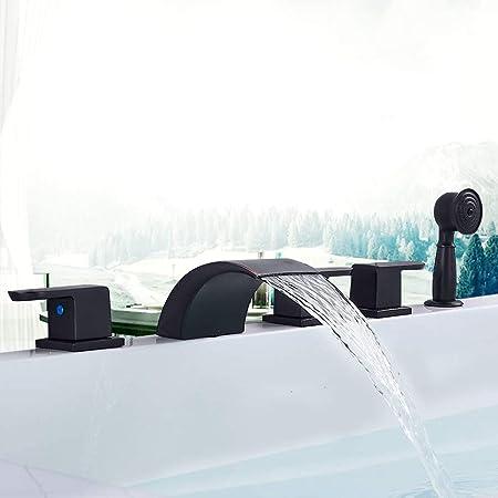 kit de douche huil/é Sugu /Él/égant cascade mont/é mitigeur 5 trous pour baignoire syst/ème de douche avec douchette /à main bronze