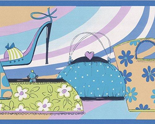 7' High Heels (Colorful Women Fashion High Heels Purse Shopping Bags Urban Style Wallpaper Border for Girls, Roll 15' x 7'')