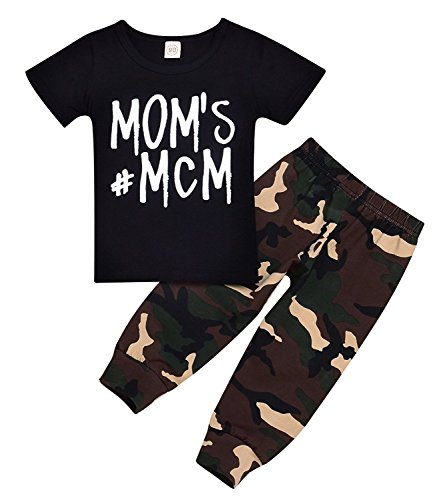 Baby Boy Outfit Baby Boy Pant Set Letter Print Bodysuit+Camouflage Long Pants Outfit Set (Camouflage, 6-12Months)