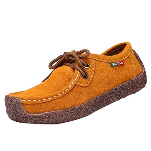 Lazzboy Damen Herbst Mode Flach Rutschfester Boden Bügel Freizeit Turnschuhe Erbsen Schuhe Gelb