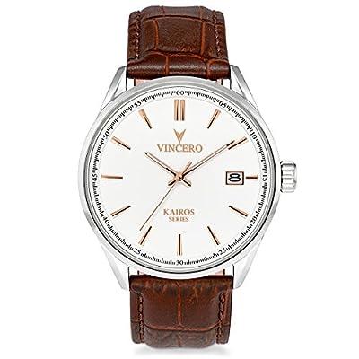 Vincero Luxury Men's Kairos Wrist Watch - Top Grain Italian Leather Watch Band - 42mm Analog Watch - Japanese Quartz Movement