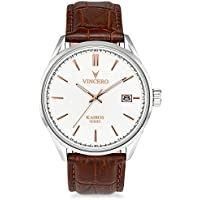 [Sponsored] Vincero Luxury Men's Kairos Wrist Watch — White dial with Brown Leather Watch Band — 42mm Analog Watch — Japanese Quartz Movement
