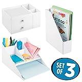 mDesign File Folder/Notebook Organizer, Desk Organizer with Paper Tray, Drawer Organizer - Set of 3, White