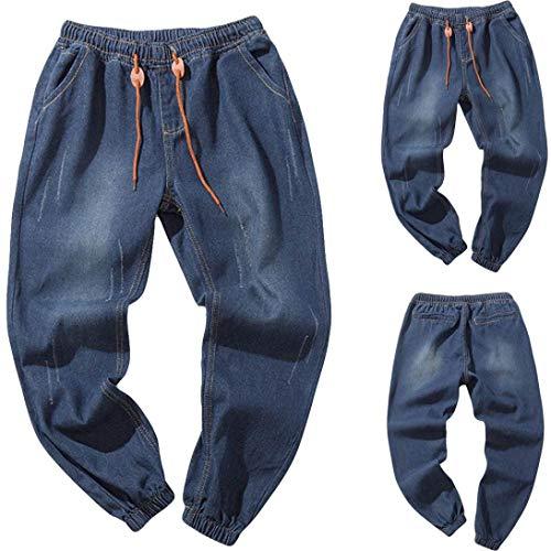 KINGbk Men's Casual Autumn Denim Cotton Vintage Wash Hip Hop Work Trousers Jeans Pants