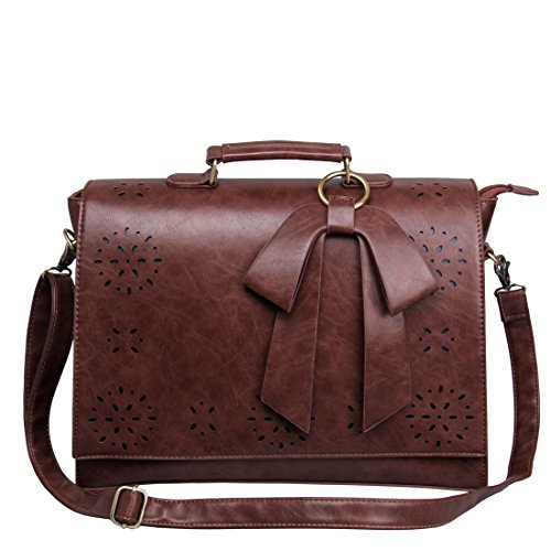 ECOSUSI Leather Briefcase Crossbody Messenger