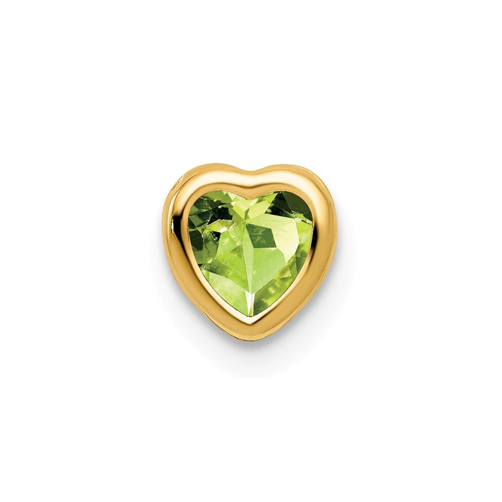 Mia Diamonds 14k Yellow Gold 5mm Heart Peridot bezel pendant