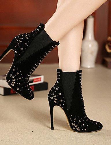 5 Zapatos 5 Vellón Vestido De Mujer Black Eu38 us7 Uk5 Xzz Cn38 Rojo Stiletto Tacón Botas Tacones Puntiagudos Negro TdwT6qC