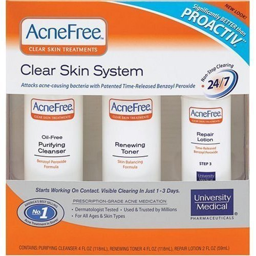 Healthcenter AcneFree Clear Skin System, 3-Step Kit (Purifying Cleanser, Renewing Toner, Repair Lotion)