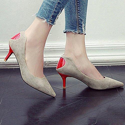 Boca uk3 Zapatos Moda Sra 5 Yixiny Primavera De Q2303 cn35 Tacn O color Tama Oto Negro Alto Fine Beige Esmerilado Del La Zapato Poco Y Eu36 Profundo Taln 2 4HPqUdP
