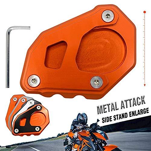 motorcycle kickstand side stand enlarger extension enlarger pate pad For KTM 1090 Adventure 2017 2018 1190 Adventure 2015 2016 1050 Adventure 1290 Super Adventure 2015-2018 (Orange - Orange)