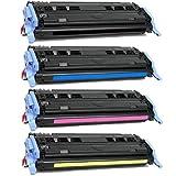 hp 1600 color laserjet printer - Toner Tech- High Yield Remanufactured OEM Toner Cartridge Replacement Set (Q6000A,Q6001A,Q6002A,Q6003A) for HP 124A/ HP 1600/ HP 2600/ HP 2605 Set (Complete Set)
