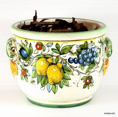 Italian Ceramics Majolica (MAJOLICA: Round cachepot [#CP01/001-MAJ])