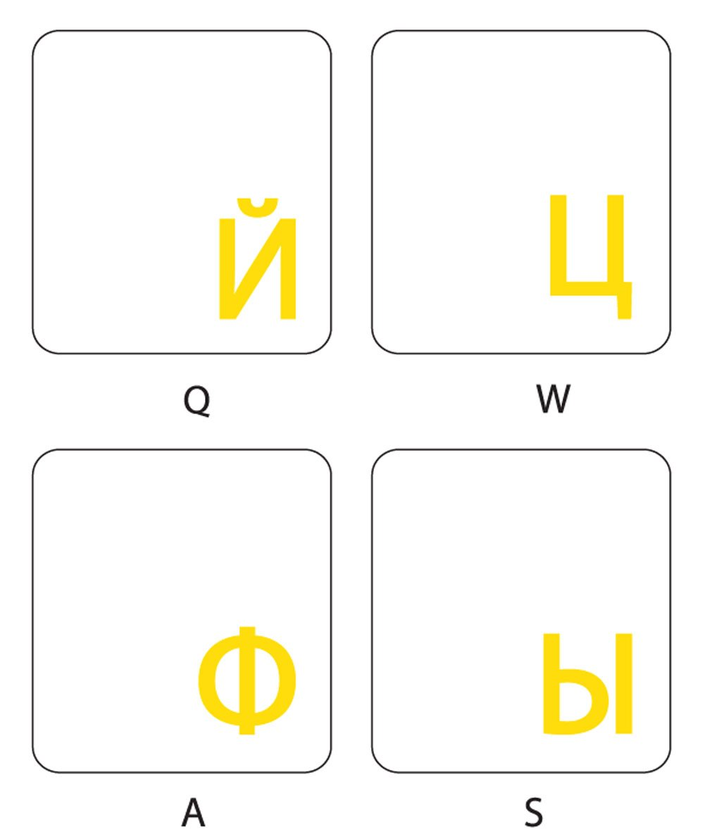 RUSSIAN KEYBOARD STICKERS WITH TRANSPARENT BACKGROUND WITH YELLOW LETTERING FOR COMPUTER LAPTOPS DESKTOP