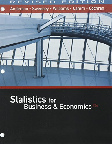 Bundle: Statistics for Business & Economics, Revised, Loose-leaf Version, 13th + MindTap Business Statistics with XL