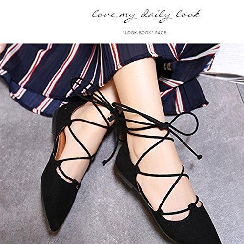 Minetom Mujeres Moda Correas Cruzadas Cabeza Puntiagudo Zapatos Estilo Casual Respirable Lace Up Pisos Para Primavera Verano Otoño Negro