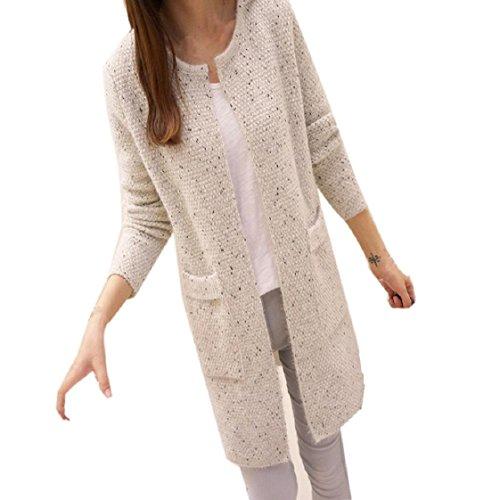 Mchoice Autumn Winter Women Cotton Elastic Twist Knitted Pullovers (Beige)