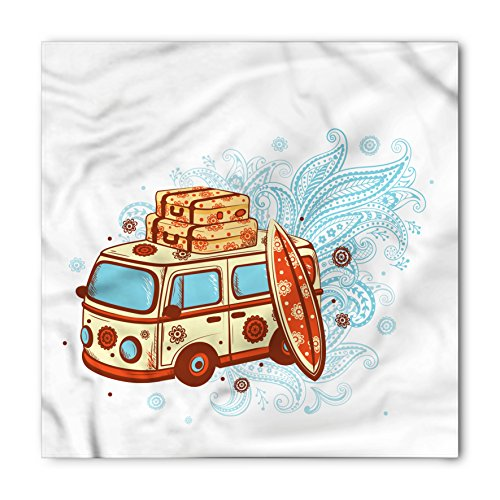 Vintage Hawaii Bandana by Lunarable, Retro Travel Van with Suitcases Surfing Board Floral Design, Printed Unisex Bandana Head and Neck Tie Scarf Headband, 22 X 22 Inches, Blue Vermilion Pale Yellow (Face Vans Neck)