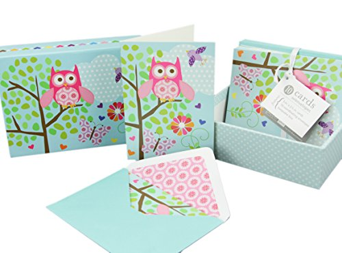 10 Blank Inside Note Cards and Matching Envelopes w/a Cute Keepsake Box - What a Hoot - Owl Cards, Thank You Stationery Cards, Invitation Greeting Cards