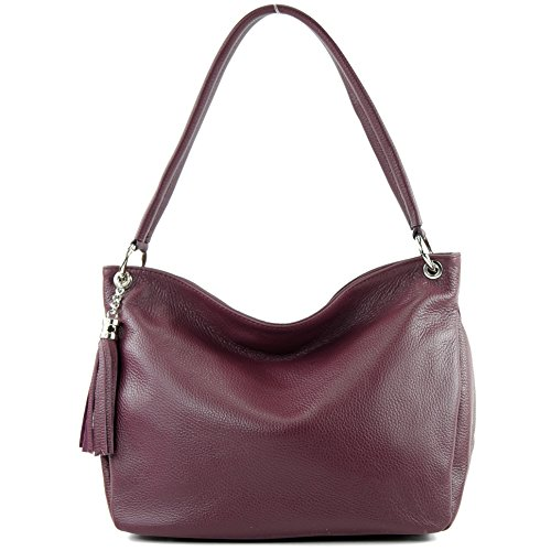 Shoulder Bag modamoda ital Bordeaux de Genuine Violet T154 Shoulder Bag Case Leather Leather qYYXx6a