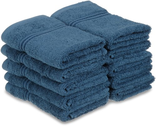Blue Sapphire Collection - Superior Luxurious Soft Hotel & Spa Quality Washcloth Face Towel Set of 10, Made of 100% Premium Long-Staple Combed Cotton - Sapphire, 13