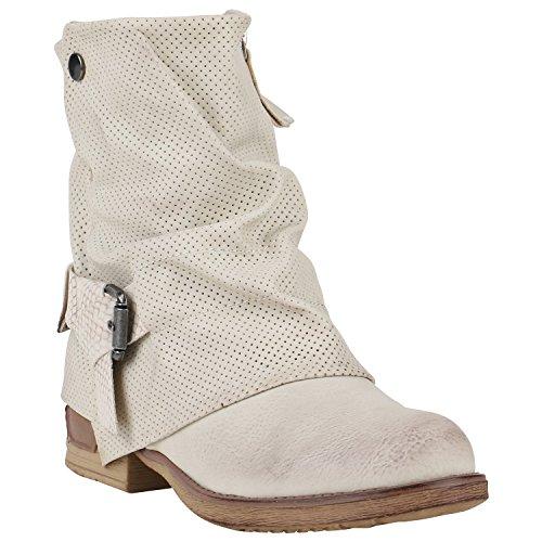 Stiefelparadies Gefütterte Damen Biker Boots Glitzer Stiefeletten Nieten Schuhe Flandell Creme Prints Nieten