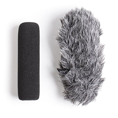 (Movo WS-G7 Foam & Furry Indoor/Outdoor Microphone Windscreen Combo Pack - Custom Fit for Rode VideoMic Go)