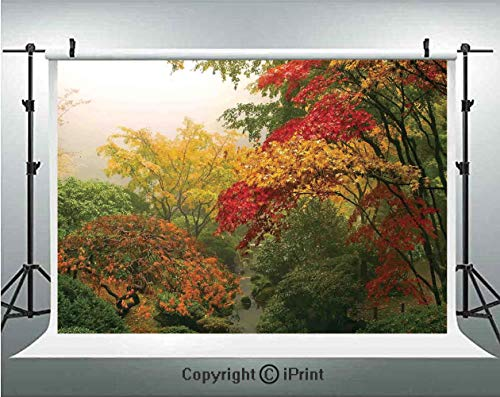 Country Home Decor Photography Backdrops Maple Trees in the Fall at Portland Japanese Garden One Foggy Morning Scenery,Birthday Party Background Customized Microfiber Photo Studio Props,8x8ft,Red Yell]()