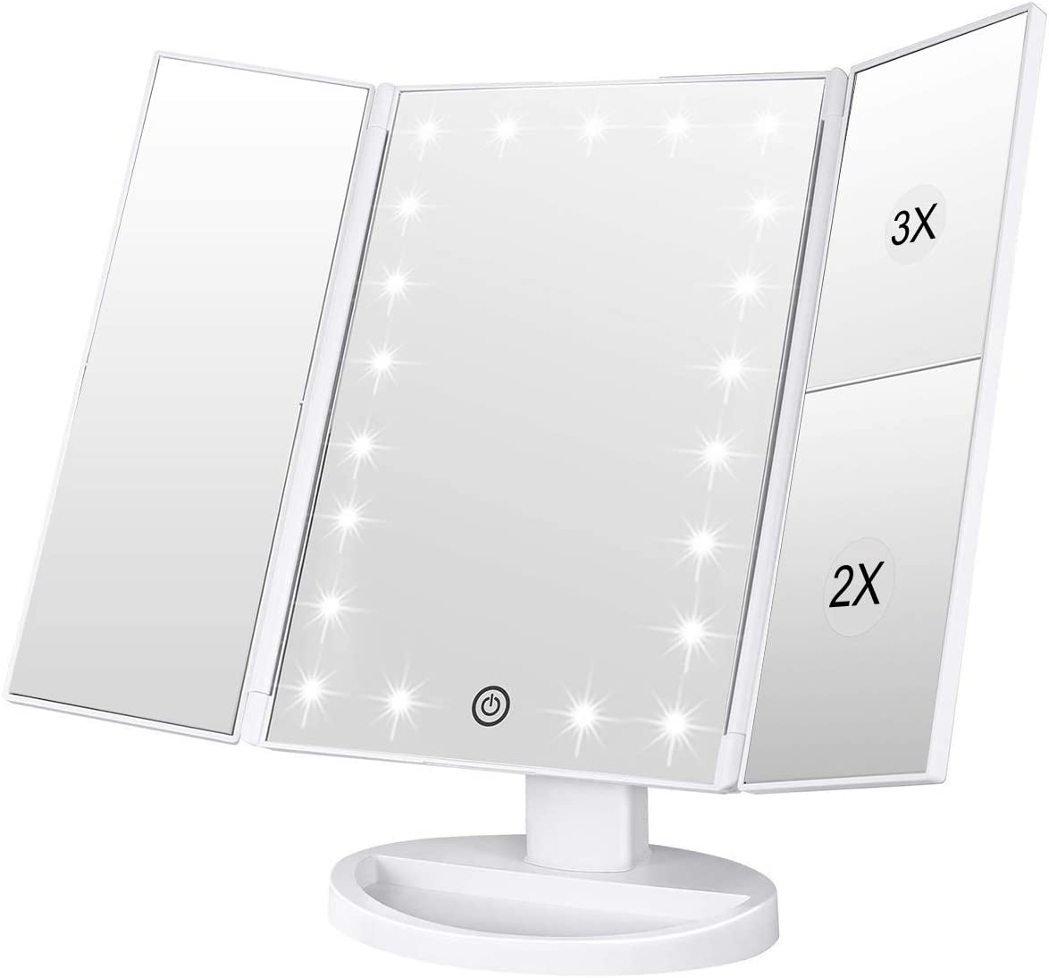 Lighted Makeup Mirror, Tri-fold Vanity Mirror with 3X 2X 1X Magnification,21 Natural LED Nights and Touch Screen, Batteries and USB Power Supply Adjustable Tabletop Cosmetic Mirror White